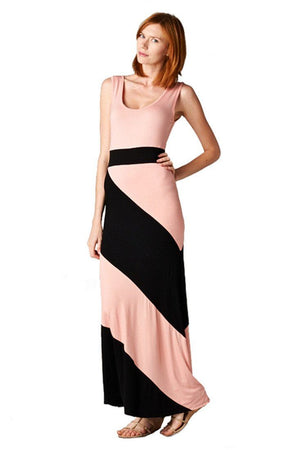 Panel Print Colorblock Knit Scoop Neck Jersey Maxi Dress (Peach)-dress-Niobe Clothing