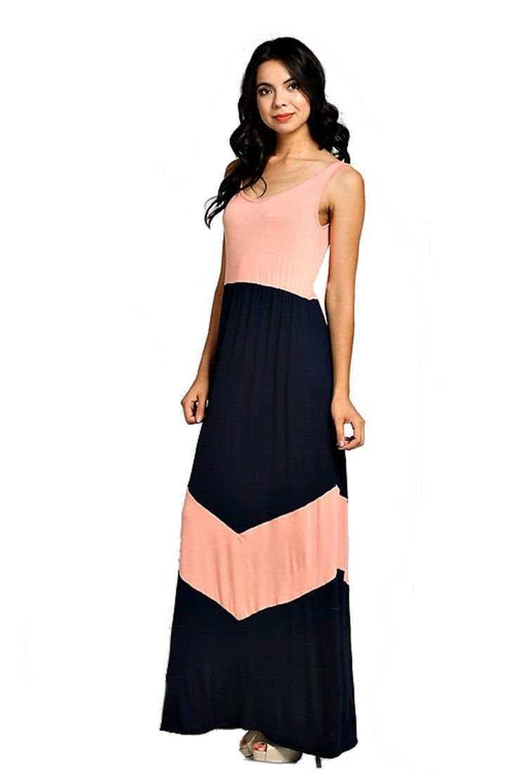 Chevron Print Accent Colorblock Scoop Back Knit Maxi Dress (Navy) dress- Niobe Clothing