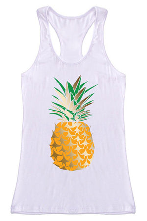 Gold Pineapple Racerback Tank Top Tops- Niobe Clothing