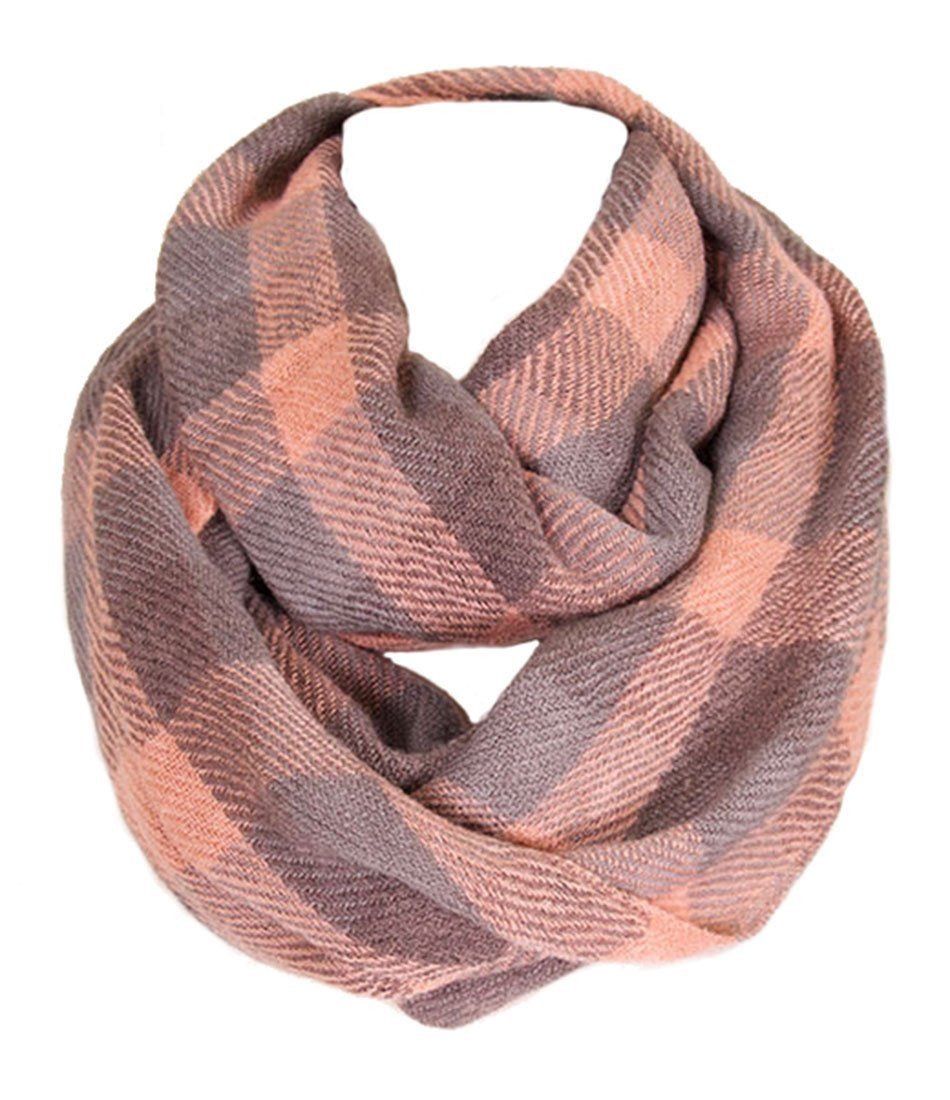 Soft Classic Pink Checkered Plaid Infinity Loop Scarf Scarves- Niobe Clothing