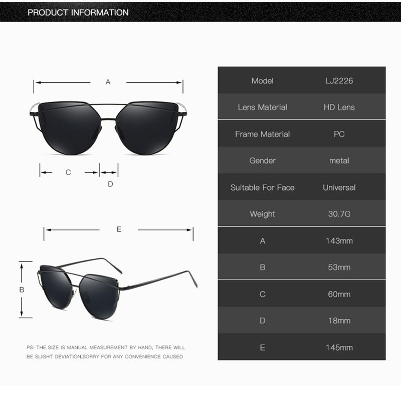"Mirrored ""Samantha"" Flat Lens Strikethrough Cat Eye Sunglasses in Black Frame Sunglasses- Niobe Clothing"