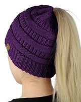Solid Color Messy Bun Ponytail Beanie Hats- Niobe Clothing