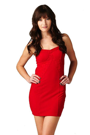 Sweetheart Neckline Textured Fitted Sleeveless Knit Lace Dress (Red)-dress-Niobe Clothing