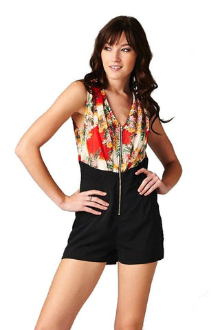 Flower Print Sleeveless Front Zipper Closure One Piece Romper Shorts (Red/Black) - Niobe Clothing - 1