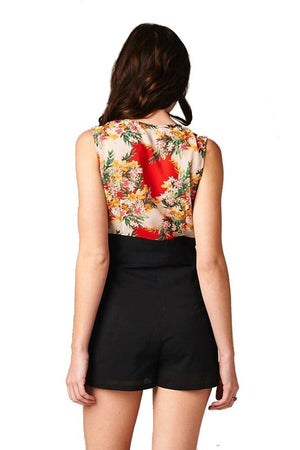 Flower Print Sleeveless Front Zipper Closure One Piece Romper Shorts (Red/Black) Rompers- Niobe Clothing