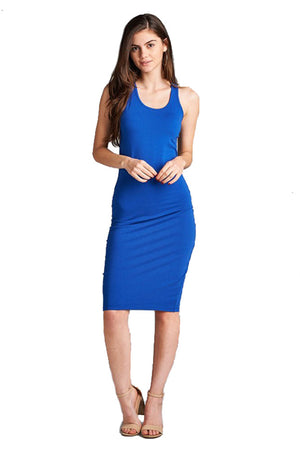 Cotton Bodycon Racerback Midi Dress dress- Niobe Clothing