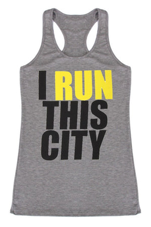 I Run This City Racerback Tank Top - Niobe Clothing