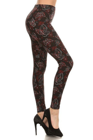 Butterfly Etch Graphic Print Lined Leggings leggings- Niobe Clothing
