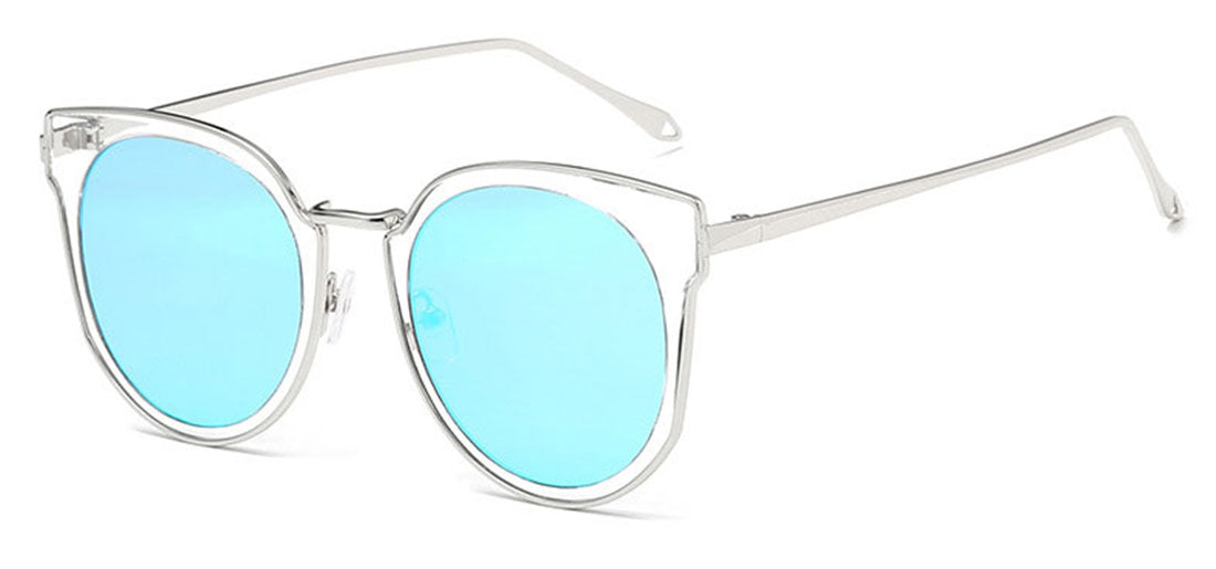 "Oversized ""Katherine"" Cat Eye Sunglasses in Silver Frame Sunglasses- Niobe Clothing"