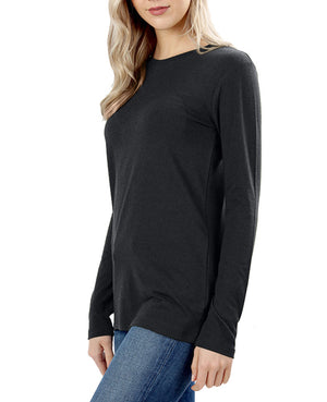 Womens Cotton Long Sleeve Crew Neck Shirt