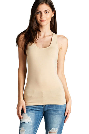 Scoop Neck Basic Racerback Cotton Tank Top