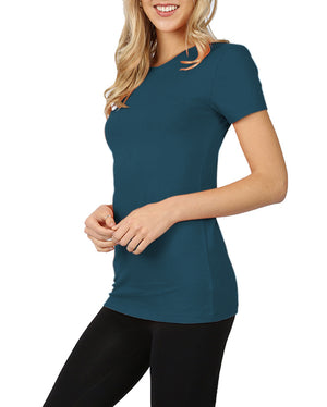 Womens Basic Cotton Crew Neck Short Sleeve Long Tee Shirt