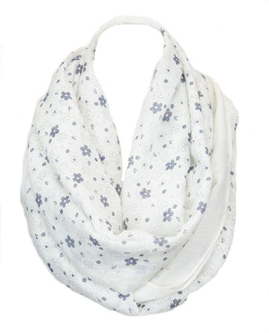 Whimsical Floral Daisy Design Infinity Loop Scarf - Niobe Clothing - 1
