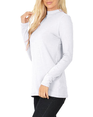 Womens Long Sleeve Cotton Mock Neck Top Tops- Niobe Clothing