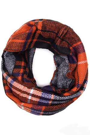 Soft Classic Grey Blue Checkered Plaid Infinity Loop Scarf - Niobe Clothing