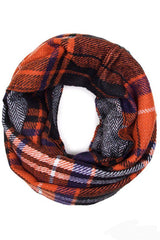 Soft Classic Checkered Plaid Infinity Loop Scarf Scarves- Niobe Clothing