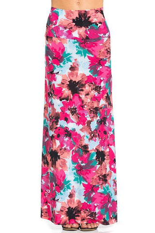 Pink Floral Printed Maxi Skirt