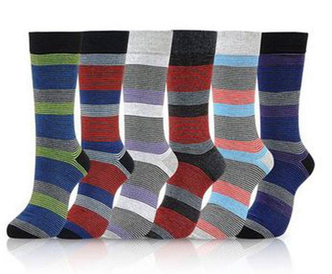 Thin Stripes Cotton Blend Dress Socks (6pk) - Niobe Clothing - 1