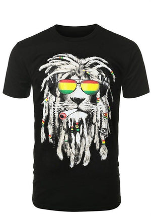 Rastafarian Smoking Lion Shirt Shirts- Niobe Clothing