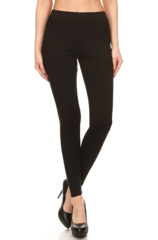 Black Solid Soft and Comfortable Leggings leggings- Niobe Clothing