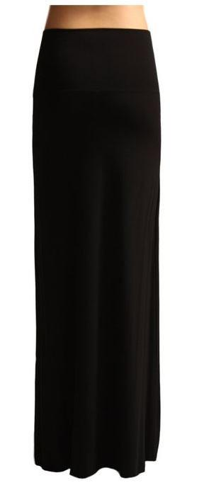 Solid Banded Waist Foldover Maxi Skirt (Black) - Niobe Clothing - 1