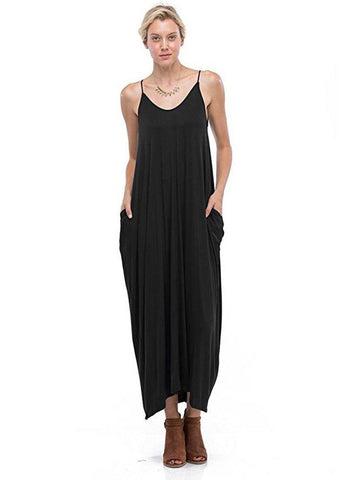 Harem Maxi Dress with Pockets in Black