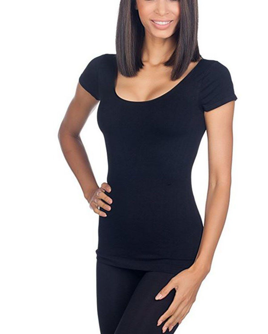 Seamless Scoop Neck Cap Sleeve Shirts- Niobe Clothing