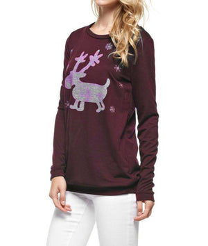 Cute Glitter Moose Long Sleeve Top Long Sleeve Top- Niobe Clothing
