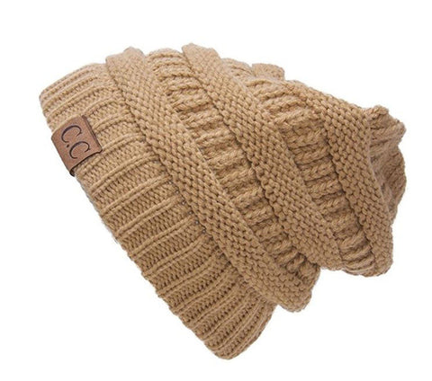 Unisex Soft Stretch Knit Slouchy Beanie (Camel)