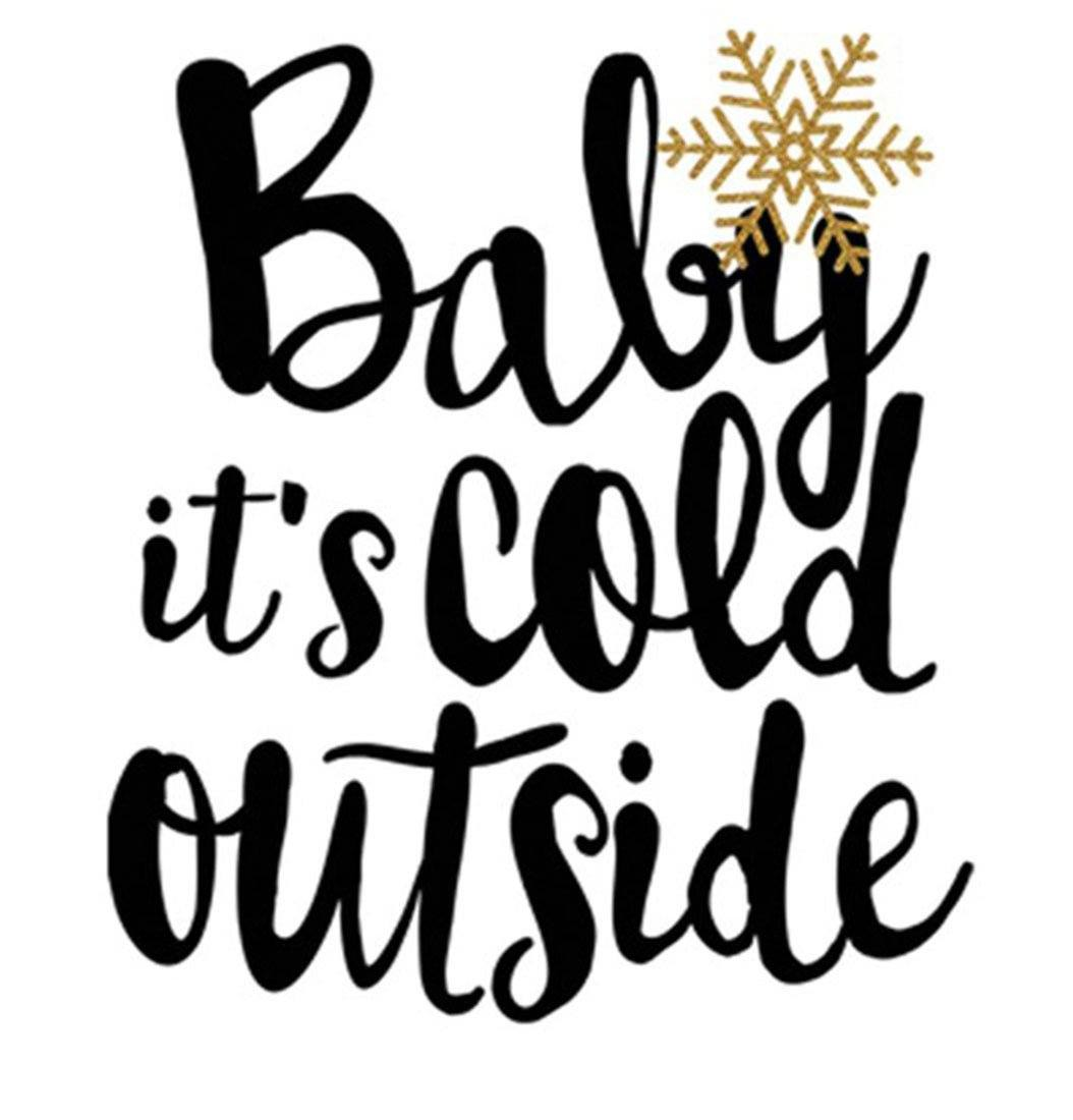 Baby It's Cold Outside Christmas Holiday Graphic T-Shirt (Burgundy) Shirts- Niobe Clothing
