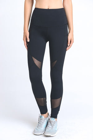 Mesh Thigh Ankle Solid Leggings