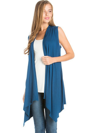 Solid Color Rayon Span Sleeveless Asymmetric Hem Cardigan