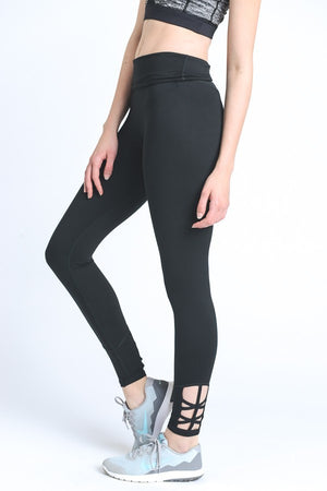 Ankle Criss Cross Side Accent Solid Leggings Active- Niobe Clothing