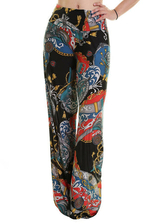 High Waist Fold Over Wide Leg Palazzo Pants (Black Regal Multicolor) pants- Niobe Clothing