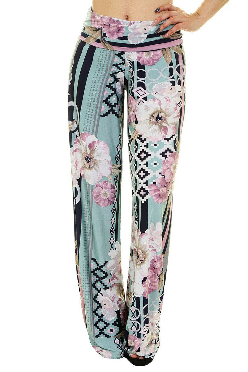 High Waist Fold Over Wide Leg Palazzo Pants (Mint Geo Floral) pants- Niobe Clothing