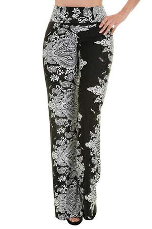 High Waist Fold Over Wide Leg Palazzo Pants (Black Baroque) pants- Niobe Clothing