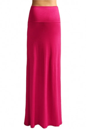 Summer Solid Banded Waist Foldover Maxi Skirt