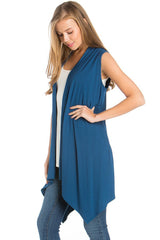 Solid Color Rayon Span Sleeveless Asymmetric Hem Cardigan Cardigans- Niobe Clothing