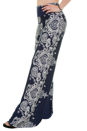 High Waist Fold Over Wide Leg Palazzo Pants (Navy Bandana)