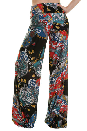 High Waist Fold Over Wide Leg Palazzo Pants (Black Regal Multicolor)-pants-Niobe Clothing