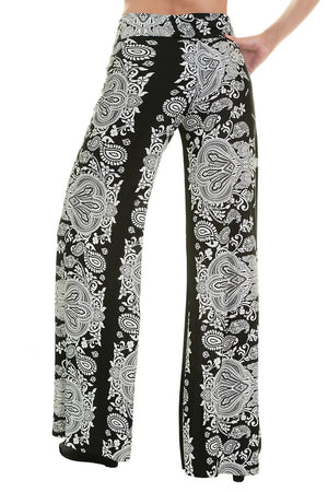 High Waist Fold Over Wide Leg Palazzo Pants (Black Baroque)-pants-Niobe Clothing