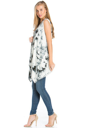 Black White Tie Dye Sleeveless Asymmetric Hem Cardigan Cardigans- Niobe Clothing