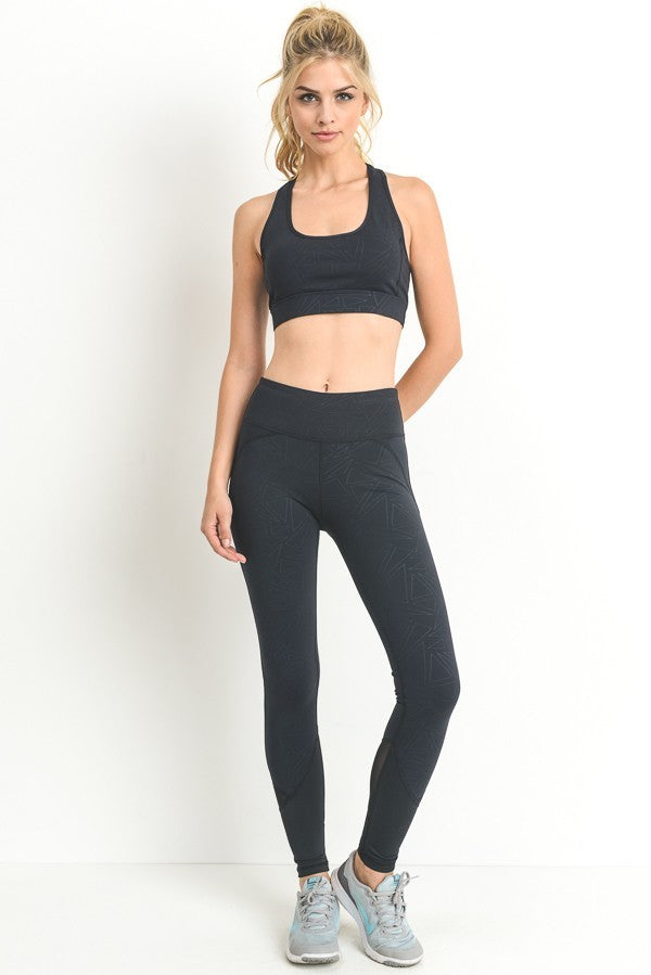 Geometric Mesh Contrast Leggings Active- Niobe Clothing