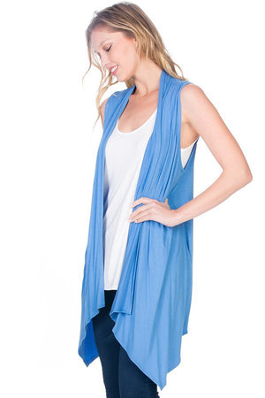 Solid Color Rayon Span Sleeveless Asymmetric Hem Cardigan-Cardigans-Niobe Clothing