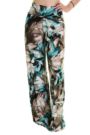 High Waist Fold Over Wide Leg Palazzo Pants (Floral Pastel)-pants-Niobe Clothing