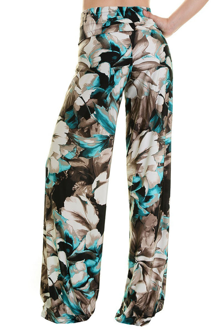 High Waist Fold Over Wide Leg Palazzo Pants (Floral Pastel) pants- Niobe Clothing