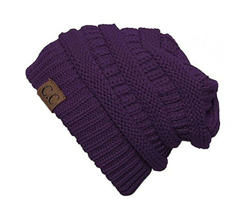 Unisex Soft Stretch Knit Slouchy Beanie (Dark Purple)