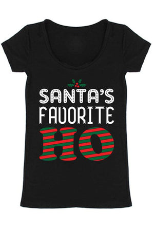 Santa's Favorite Christmas Holiday Graphic T-Shirt (Black)