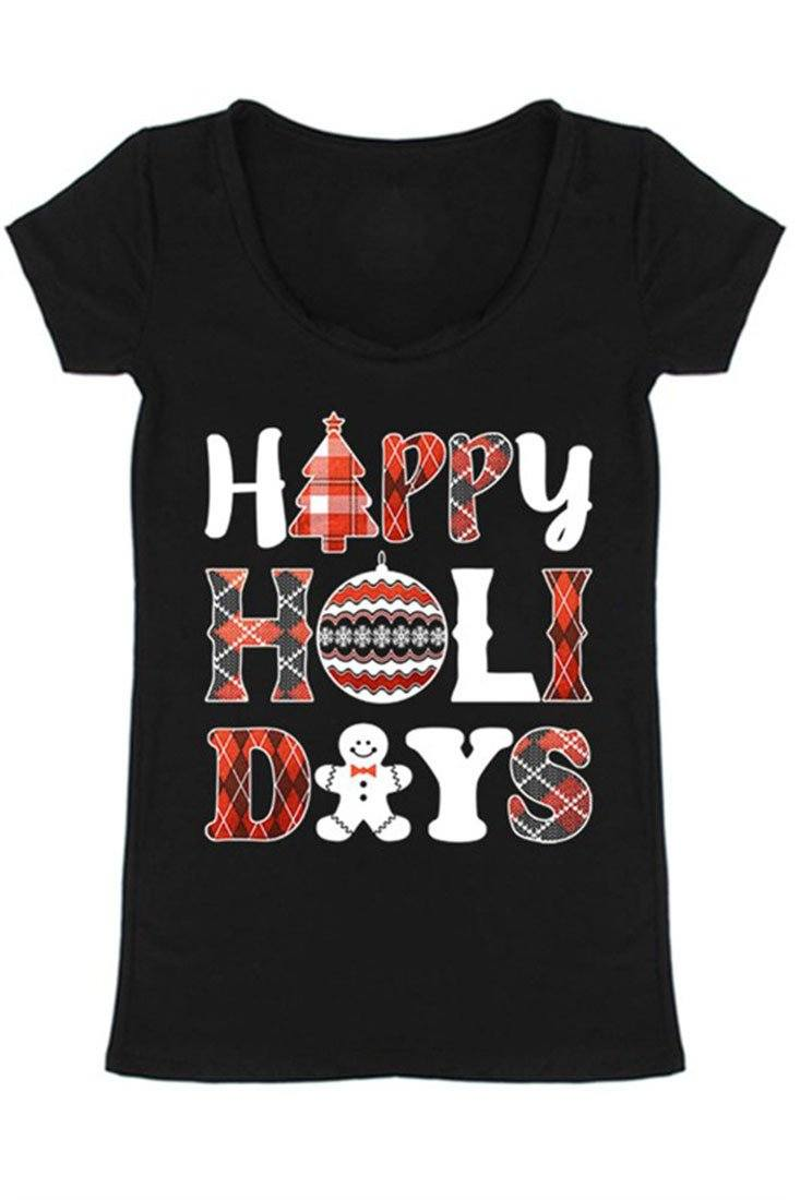 Happy Holidays Graphic T-Shirt (Ivory) Shirts- Niobe Clothing