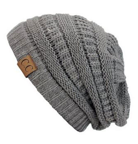 Unisex Soft Stretch Knit Slouchy Beanie (Light Melange Grey) - Niobe Clothing - 1